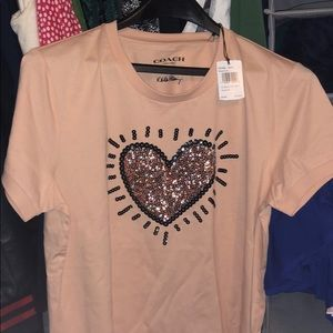 Coach NWT t shirt with sequin heart